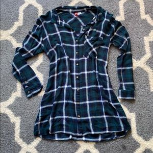 Plaid button-down dress